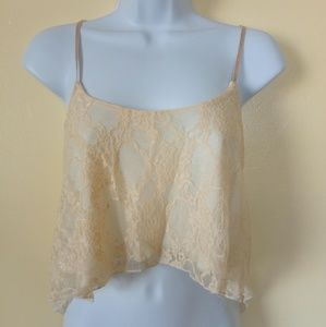 Flowy Cream Lace Top Size S